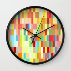 colorful rectangle grid Wall Clock