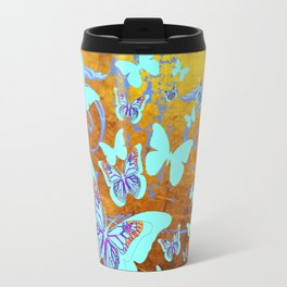 Coffee Brown Celadon Color Butterflies Abstract & Yellow Travel Mug