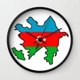 Azerbaijan Map with Azeri Azerbaijani Flag Wall Clock