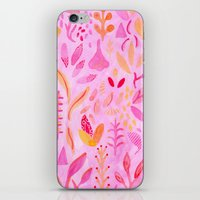 flora iPhone & iPod Skins featuring Flora by messy bed studio