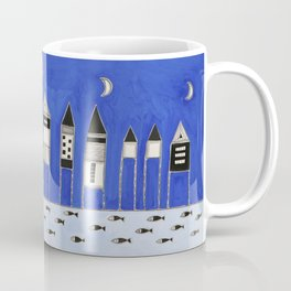 Tiny houses and fish in blue Coffee Mug