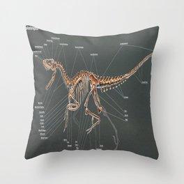 Dakotaraptor Skeleton Study Throw Pillow