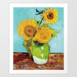 Vincent van Gogh - Three Sunflowers in a Vase Art Print
