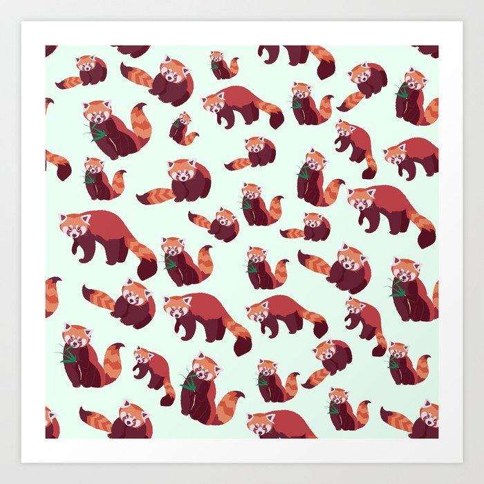 Red Panda Pattern Art Print