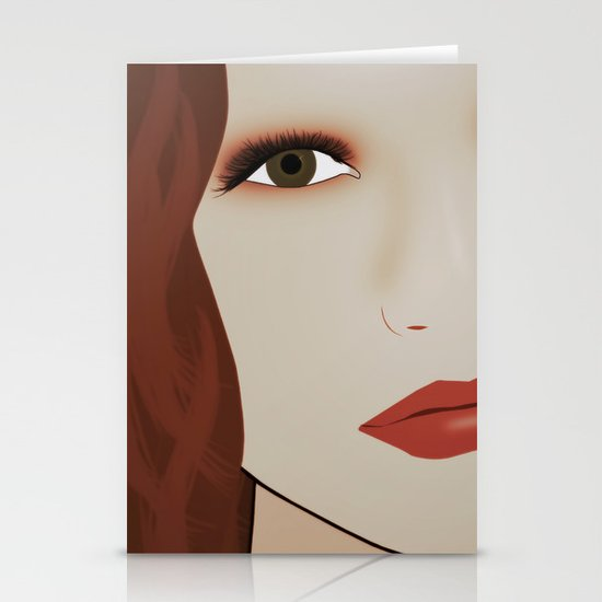 Red Head from Another Dream Stationery Cards