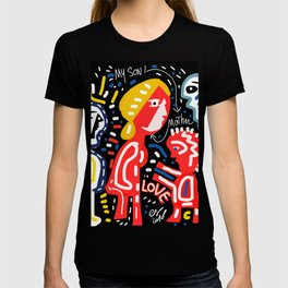 Mother and Son = LOVE Street Art Graffiti Art T-shirt