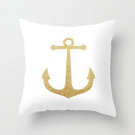 Gold Glitter Anchor Throw Pillow