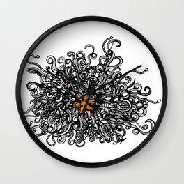 Burst of Swirls Doodle Wall Clock