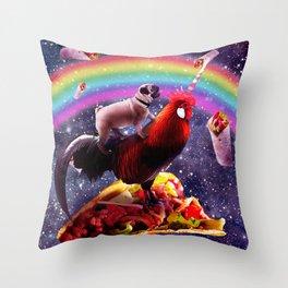 Space Pug Riding Chicken Unicorn - Taco & Burrito Throw Pillow