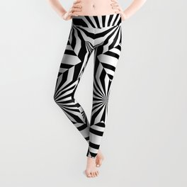 Black and white op art pattern with stars and striped lines Leggings