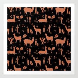 Llama pattern 3 Art Print