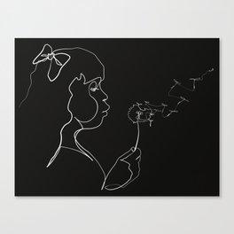 Dandelion Wish Line - White & Black Canvas Print