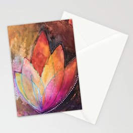 Lotus Dreaming in Colour and Dots Stationery Cards