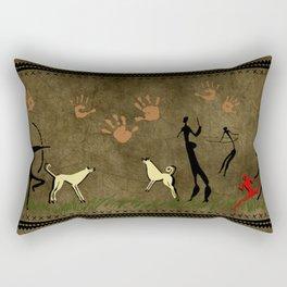 Cavemen Wall Rectangular Pillow