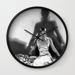 Fierce Josephine Baker Folies Bergère, Paris African American black & white photograph on Tiger Rug Wall Clock