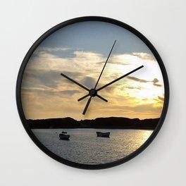 Sunset over Lancashire sea fishing boats  Wall Clock