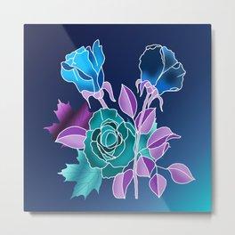 Night Floral Pattern Metal Print
