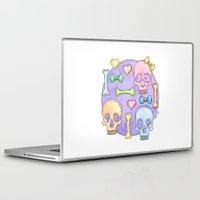 pastel goth Laptop & iPad Skins featuring Pastel Skulls by Tumbling Tortoises