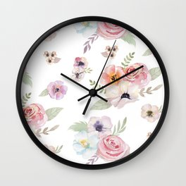 Floral I - White Wall Clock