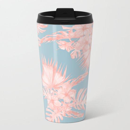 Tropical Palm Leaves Hibiscus Coral Blue Metal Travel Mug