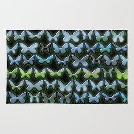 Green and blue butterflies pattern Rug