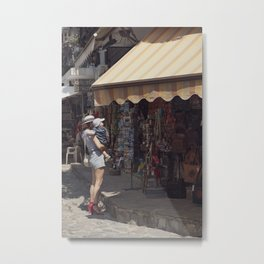 European vintage woman and summer - Street Photography Metal Print
