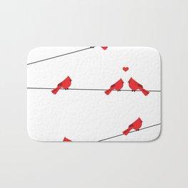 Red birds - winter talk Bath Mat
