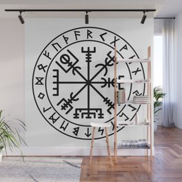 Vegvisir with futhark Wall Mural