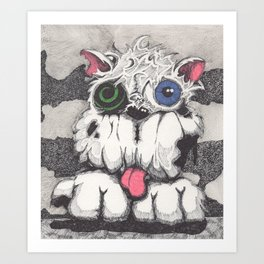 Toxie the Zombie Dog Art Print