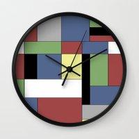 mondrian Wall Clocks featuring Mondrian #5 by Ron Trickett