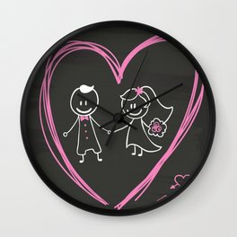 Cartoon bride and groom blackboard design Wall Clock