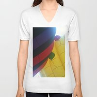 hot air balloons V-neck T-shirts featuring Hot Air Balloons by merialayne