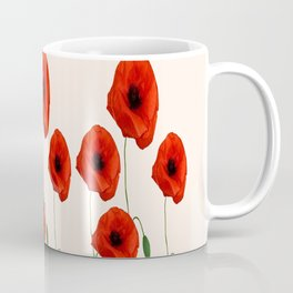 GRAPHIC RED POPPY FLOWERS GARDEN ON WHITE COLOR Coffee Mug