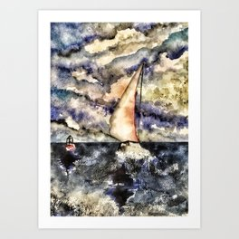 Sailboat steady in the storm Art Print