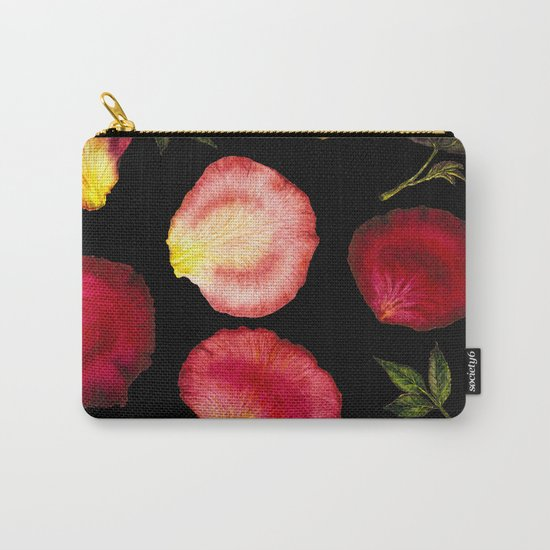 Rose Petal Pattern on Black 01 Carry-All Pouch