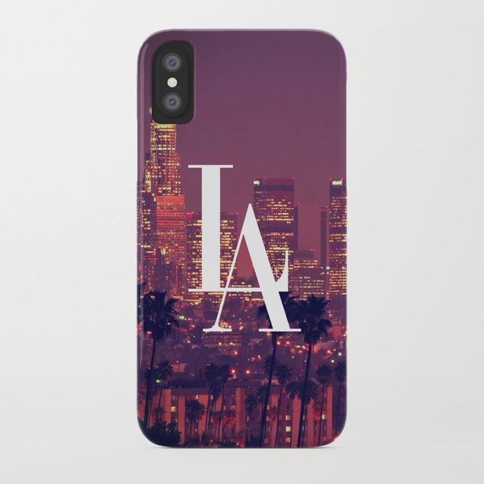 Downtown LA Vintage Skyline Typography iPhone Case