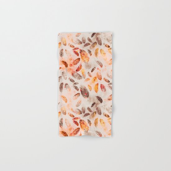 Autumn Feathers watercolor pattern Hand & Bath Towel