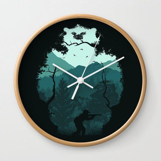 Hunting Season - Blue Wall Clock