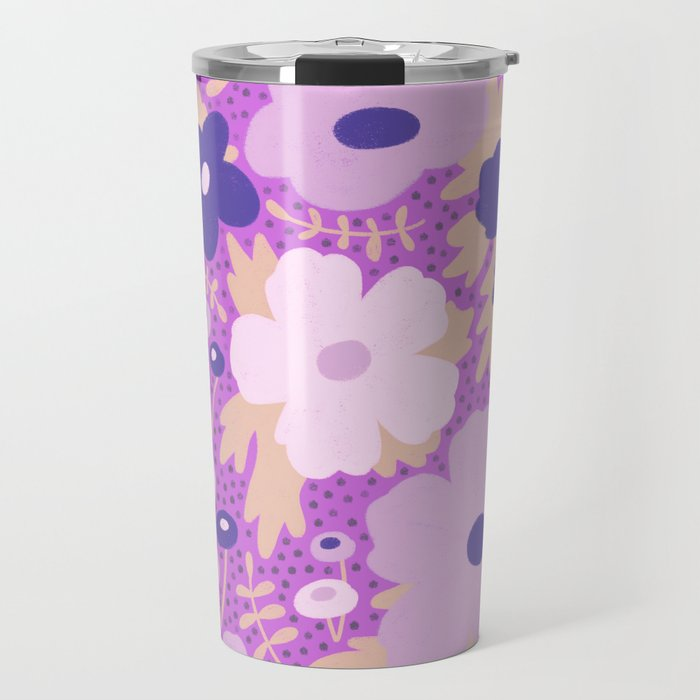 Flower bonanza - Purple background Travel Mug