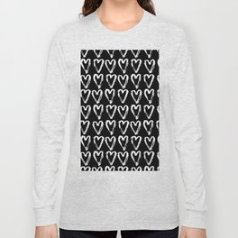 Black & White-Love Heart Pattern- Mix & Match with Simplicty of life Long Sleeve T-shirt