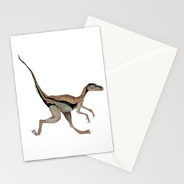 Running, brown compsognathus dinosaur Stationery Cards