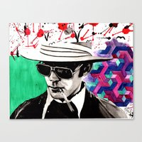 hunter s thompson Canvas Prints featuring hunter s. thompson by deanna kelii