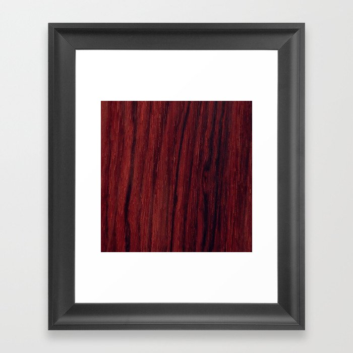 Deep Red Wood Veneer Design Framed Art Print