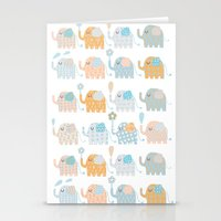 elephants Stationery Cards featuring Elephants by Claire Brown Surface Pattern