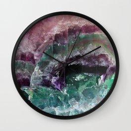 Pink & Green Watermelon Tourmaline Crystal Wall Clock