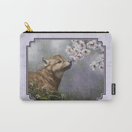 Wolf Pup and Spring Blossoms Carry-All Pouch