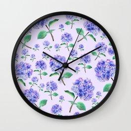 purple blue hydrangea in purple background Wall Clock