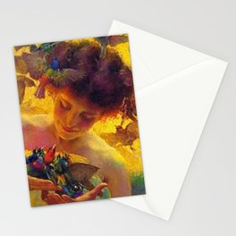'The Angel of the Songbirds' still life portrait painting by František Dvořák Stationery Cards