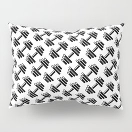 Dumbbellicious / Black and white dumbbell pattern Pillow Sham