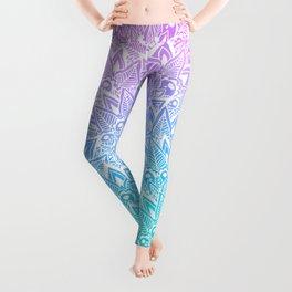 White mandala henna pattern illustration Mermaid purple turquoise watercolor floral pattern Leggings